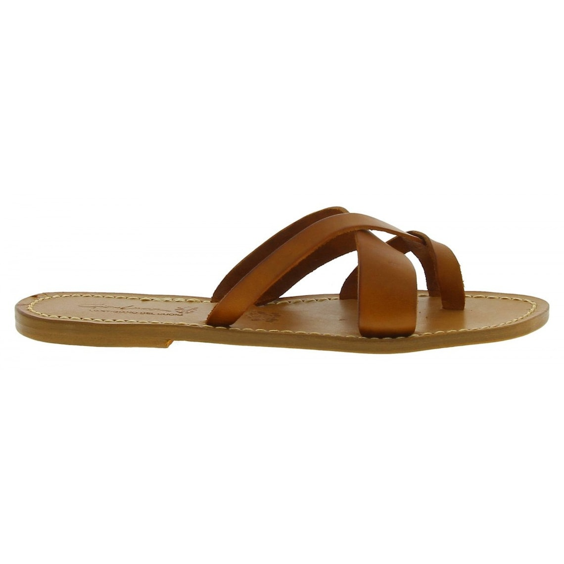 Women's thong sandals Handmade in Italy in tan calf leather |