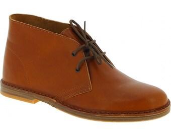 Women's tan leather chukka boots handmade in Italy | L'artigiano Florence