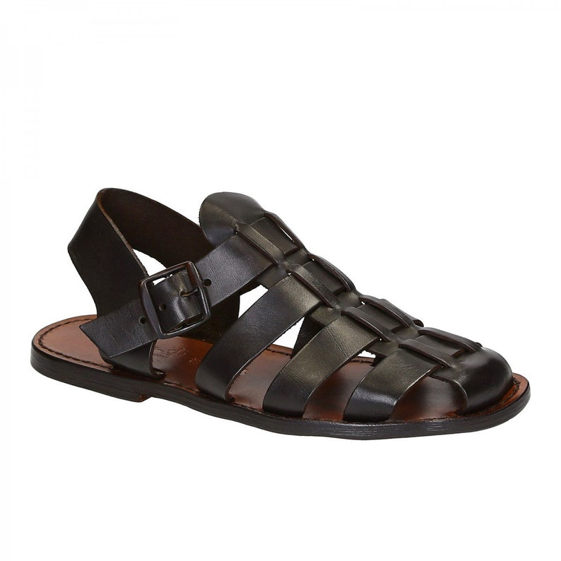 1930s Men's Shoe Styles, Art Deco Era Footwear Handmade in Italy mens Franciscan sandals in dark brown leather | Gianluca - Lartigiano del cuoio $128.74 AT vintagedancer.com