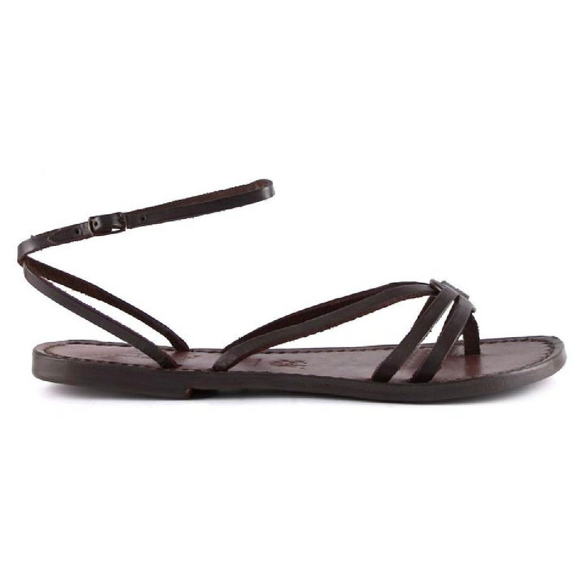 Women sandals hand made in Italy in dark brown leather |