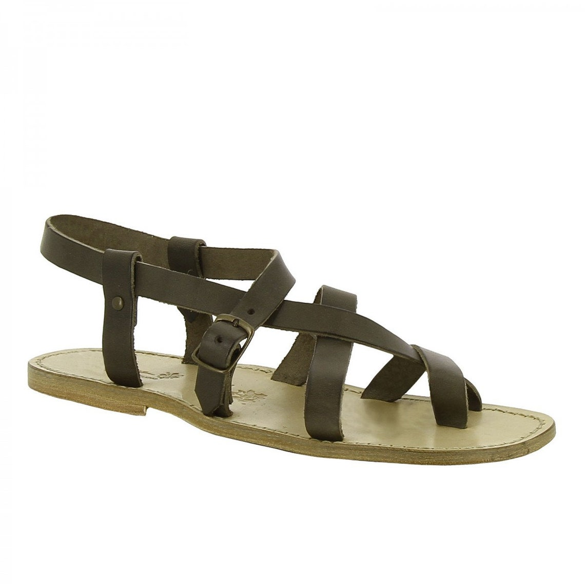 Gladiator sandals for men in mud color calf leather |