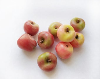 Apples miniature. Miniature garden. Play kitchen. Doll miniatures. Barbie food, food for doll. Play food. Fruits polymer clay.