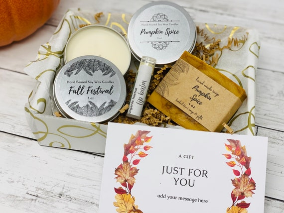 Fall Gift Box/ Fall Candle Set  Handmade Thanksgiving Gift