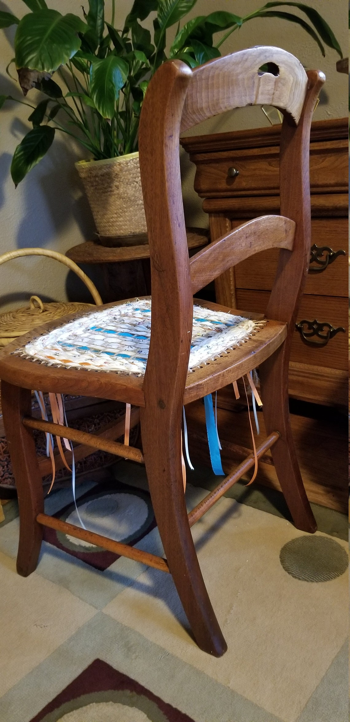 Wooden Upcycled Boho Side Chair with Jute, Fabric and Ribbon Woven Seat
