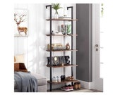 5-Tier Industrial Ladder Shelf Against The Wall, 72.6 Inches Display Rustic Storage Rack Plant Stand Utility Organizer Bookshelf