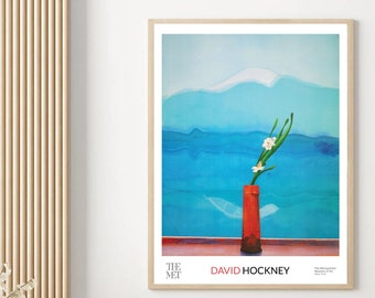 David Hockney Exhibition Poster Replica Mount Fuji and Flowers Art Print Modern Art Aesthetic Poster