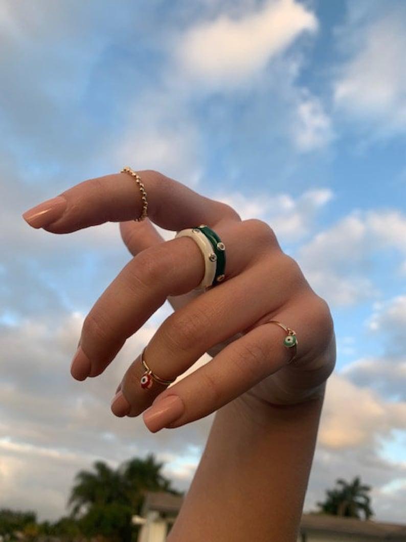 Luck Ring Evil Eye Rings 18K Gold Filled Ring Protection Ring half hand fingers Ring Evil Eye Jewelry. Toe Ring