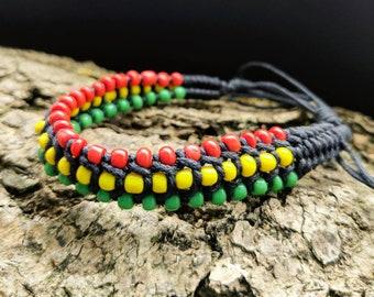 Rasta jewelry African Jewelry Africa Bracelet Black leather bracelet men women Rasta bracelet men Rasta Bracelet Red Reggae Bracelet