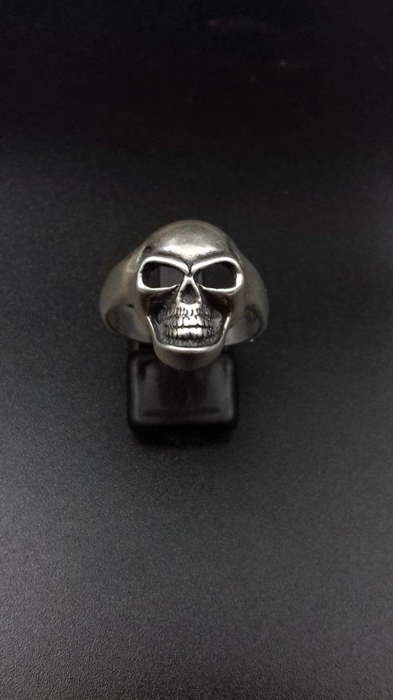 Human Skull Sterling Silver Ring For Men image 0