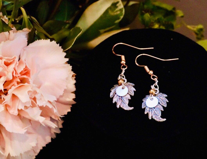 Silver and Gold Plated Leaf Dangle Earrings