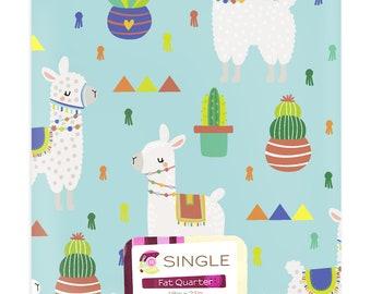 Baby Llamas on Aqua 100 % Cotton fabric Fat Quarter, 1/2 yard, mask making, crafts, quilting or home decor,