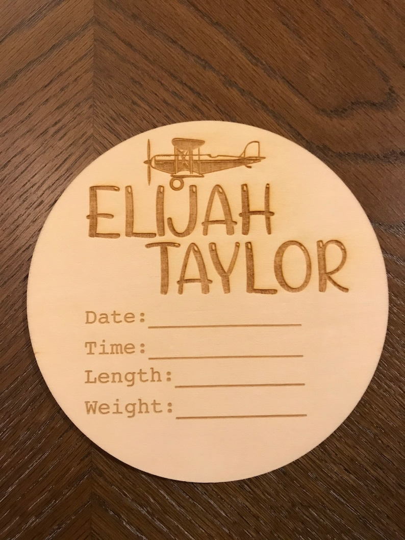 Baby Birth Announcement Customizable Round Fill In Baby Boy Airplane.
