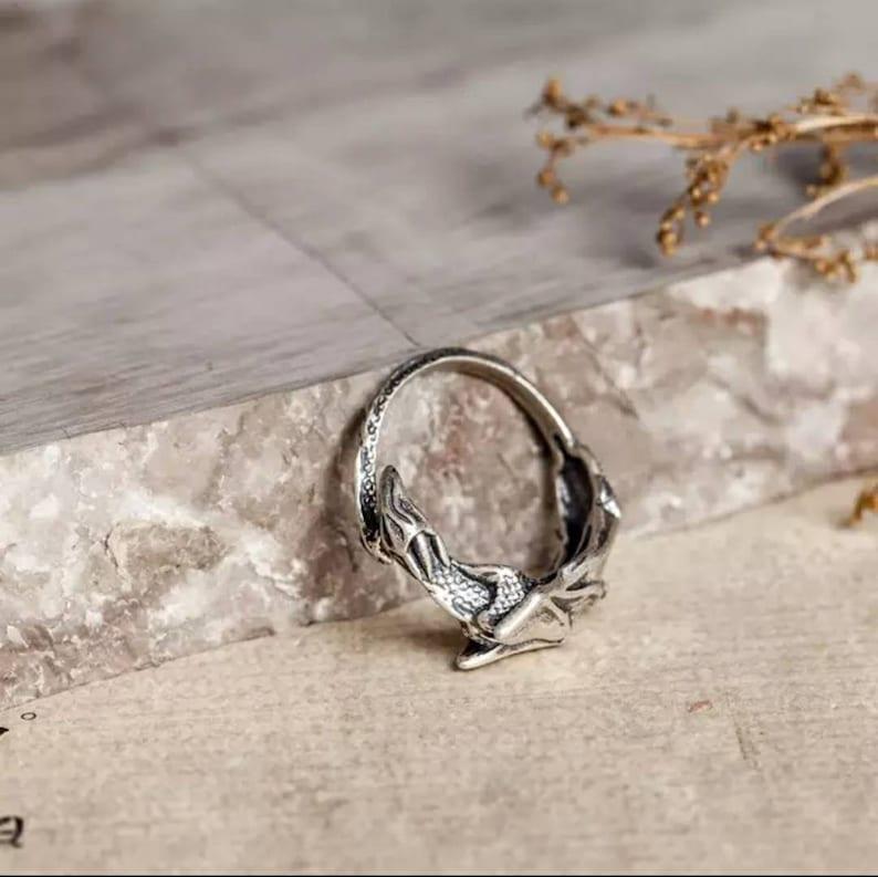 Dragon Ring Sterling Silver Adjustable UK L to U Goth Punk Brutalist Jewellery