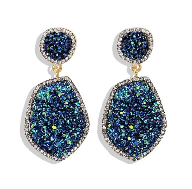 Statement Earrings Fashion Earrings Large Earrings Colourful Earrings Dangle Drop Crystal Earrings Natural Gem Earrings Gemstone Studs