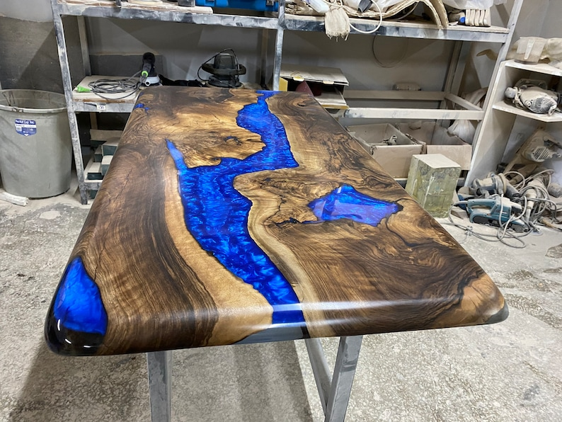 Poplar And Olive Wood Epoxy Resin River Table Tree