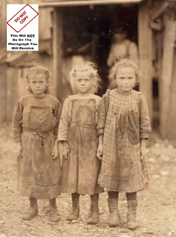 Great Depression Dirty Young Girls 1930/'s Vintage Photo 5x7 Antique Print 9752