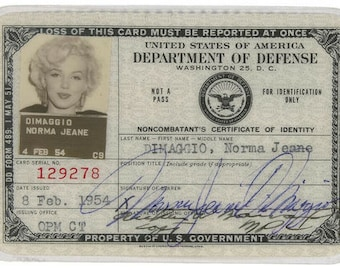 Marilyn Monroe 1954 DOD ID (Norma Jeane Dimaggio) Dept Of Defense ID Collectors Item Blonde Dombshell 4x6 Glossy Photo Vintage Print 9457