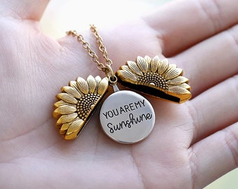 18K Sunflower Necklace, You Are My Sunshine Necklace, Flower Necklace Pendant, Sunflower Pendant, Sunshine Pendant, Necklace For Woman