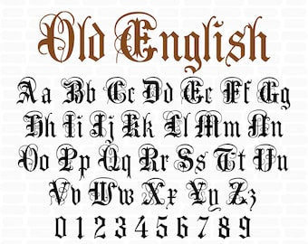 Old English font Gothic font Gothic letters Old English Monogram Svg Font Old English Font Letters & Numbers Svg for Cricut silhouette files
