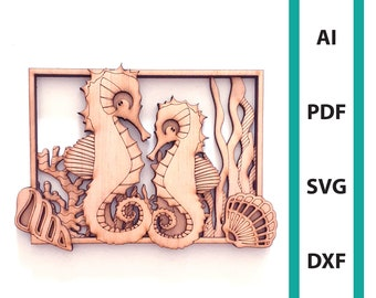 Seahorse wall deco glowforge laser cut file commercial use wall art instant download dxf svg ai pdf sea creature ocean scoring sea horses