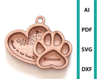 Pet memorial Christmas ornament memorial glowforge laser cut file, commercial use, download dxf svg ai pdf ornaments dog paw tree hanger