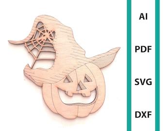 Pumpkin wall deco Halloween glowforge laser cut file commercial use wall art download dxf svg ai pdf scoring  spooky halloween svg