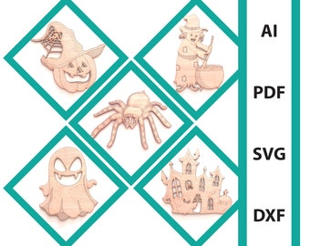 Bundle Halloween wall art glowforge laser cut files, commercial use dxf svg ai pdf scoring files ghost spider haunted house witch pumpkin