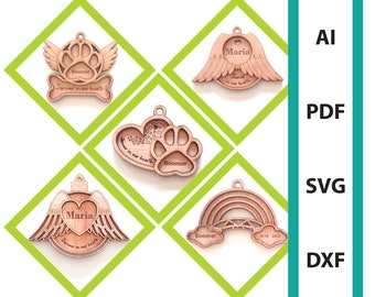 Memorial bundle Christmas ornament glowforge laser cut file commercial use dxf svg ai pdf dog memorial paw angelwings memorial tree hanger