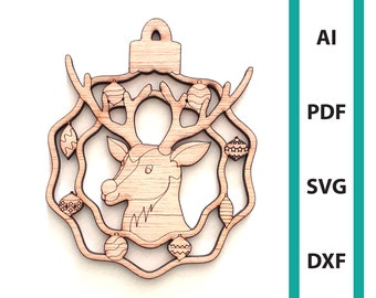 Christmas ornament Reindeer glowforge laser cut file, commercial use wall art download dxf svg ai pdf ornaments xmas tree hanger deer