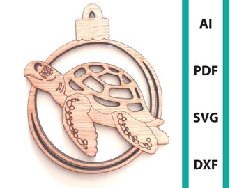 Seaturtle Christmas ornament glowforge laser cut file, commercial use wall art download dxf svg ai pdf sea turtle sea creature ornaments