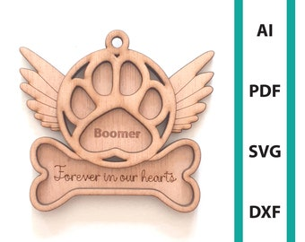 Memorial ornament Christmas dog paw memorial glowforge laser cut file, commercial use, download dxf svg ai pdf ornaments dog paw tree hanger