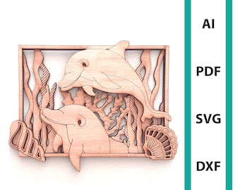 Dolphin wall deco glowforge laser cut file commercial use wall art instant download dxf svg ai pdf sea creature ocean beach scoring dolphins