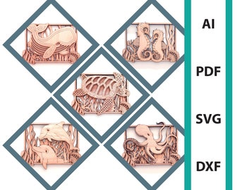 Bundle Sea animals wall art glowforge laser cut files, commercial use dxf svg ai pdf scoring files sea turtle seahorse whale octopus dolphin