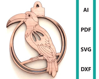 Toucan Christmas ornament glowforge laser cut files, commercial use wall art download dxf svg ai pdf tropical bird ornaments tree hanger