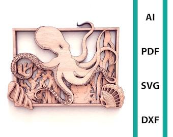 Octopus wall deco glowforge laser cut file commercial use wall art download dxf svg ai pdf sea turtle sea creature ocean beach scoring squid