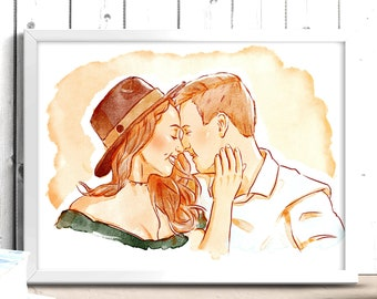 Custom couple portrait watercolor drawing from photo and anniversary gift for couples, boyfriend, girlfriend, parents and family