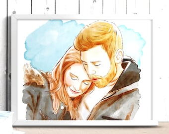 Custom painting from photo, Family portrait illustration, drawing from photo, custom couple illustration, watercolor portrait from photo