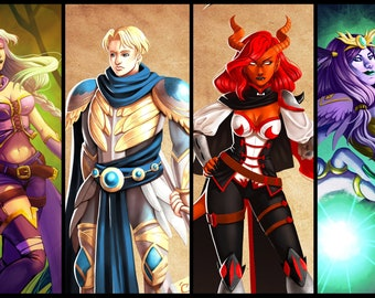 Dnd character commission digital art, custom character art, DnD party commission, RPG Custom Character Portrait, dnd commission, dnd drawing