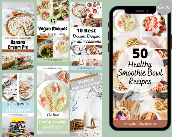 Customizable Food Blogger Pinterest Templates, Canva Templates, Travel Blogger Pinterest, Pinterest Pins, Pin Design, Social Media Templates
