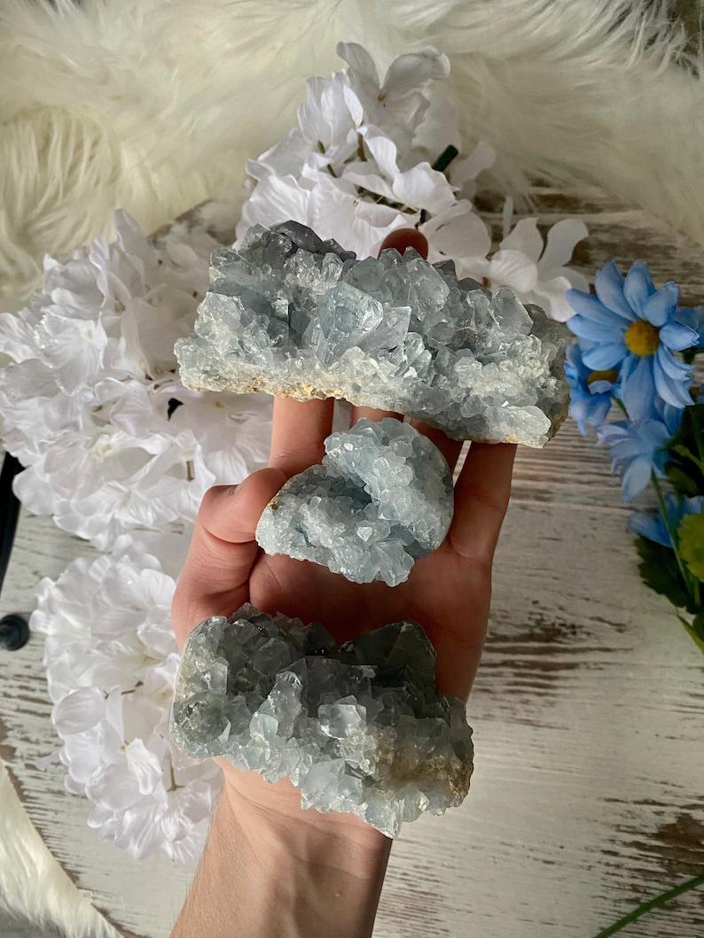 Celestine Crystal Energy Healing \u2013 Reiki Crystal Healing Celestite Cluster Blue Celestite
