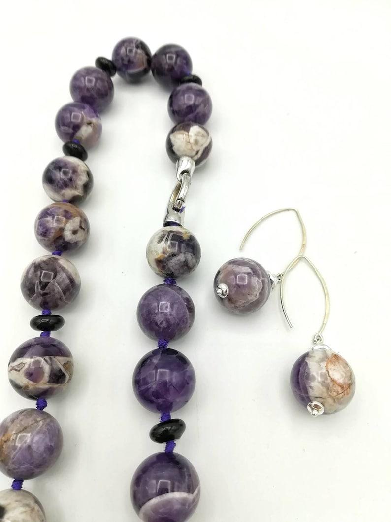 Amethyst choker necklace Donna Maxi stone necklace large stone choker necklace purple woman necklace silver necklace 925 and amethyst