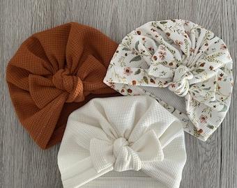 Turban bébé / bonnet petite fille / bonnet naissance