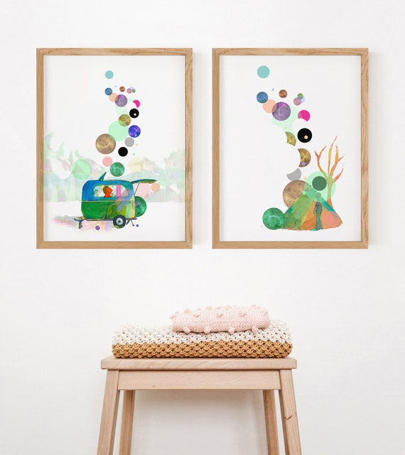 Set of 6 Nursery Camp Printable Wall Art Camper Illustration Digital Print Kid Room Camping Wall Deco