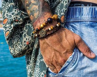 Mens wood bracelet set, 3 matching bracelets, Mens beaded bracelet, Surf bracelets for men, Handmade bracelets