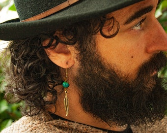 Mens Feather Earring With Natural Stone - One Earring - Jade - Turquoise - Citrine - Tiger Eye - Lava Stone - Personalized Men Earring