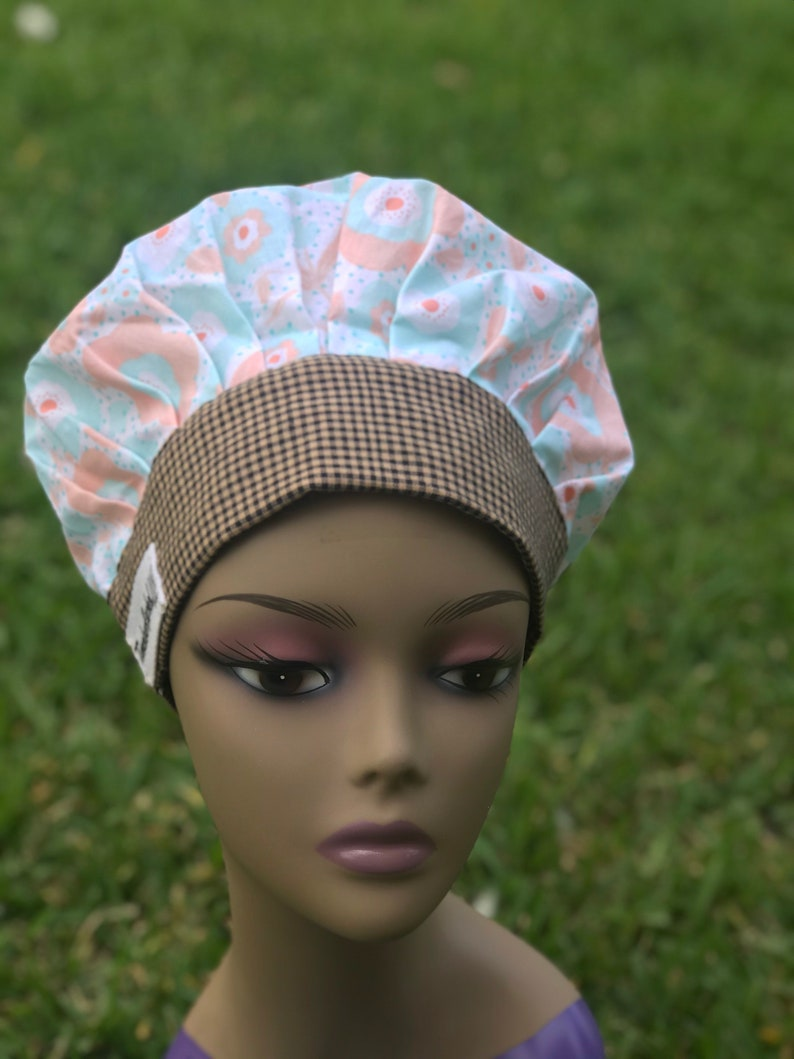 Floral Pastel Bouffant Scrub Cap Pastel Bonnet for Nurses Bouffant Women Scrub Cap Pixie Hair Scrub Cap,Scrub Cap Medical Hair Bonnet