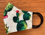 Face Mask Succulent Plant Print Cotton Mask With Filter Washable and Reusable and Reversible Made in USA