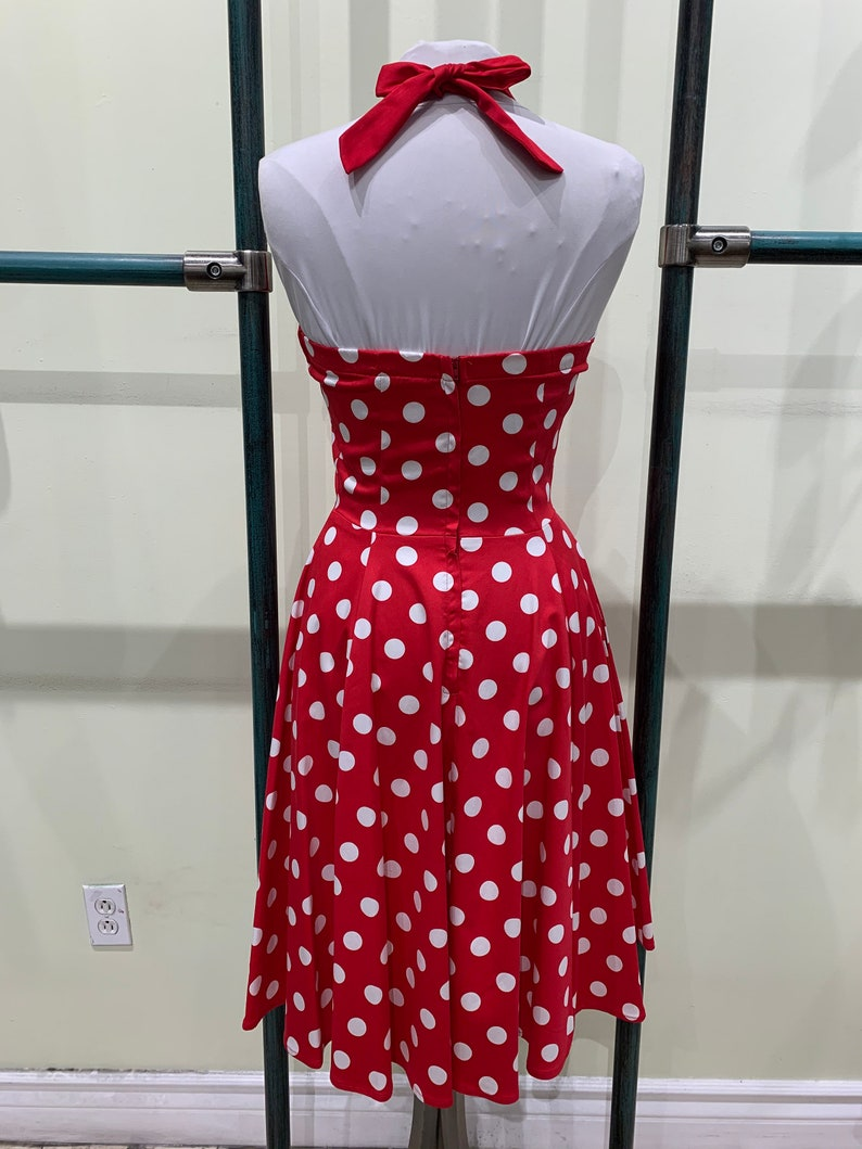 Eva Rose Two-Toned Red And White Polka Dot Print Fit and Flare Halter Dress With Pockets