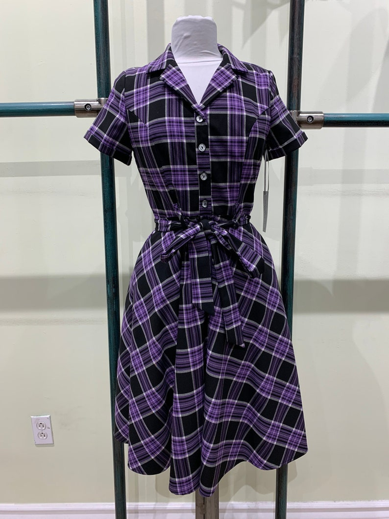 Vintage Shirtwaist Dress History Eva Rose Purple and Black Gingham Checkered T-Shirt Cap-Sleeve Fit and Flare Dress With Pockets $39.99 AT vintagedancer.com