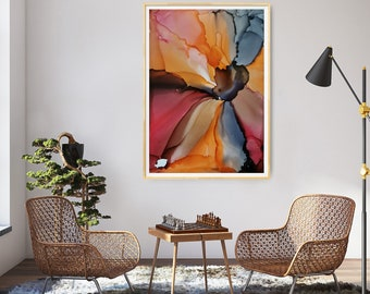 artwork, paper, poppy, flower, autumn, orange, bordeaux, red, black, abstract art, ink, coloured, paperwork, expression, abstract
